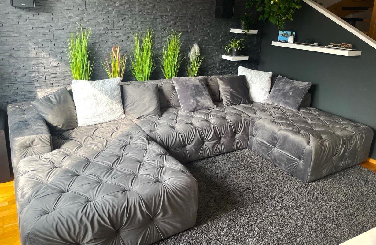 Canapé en U en tissu premium