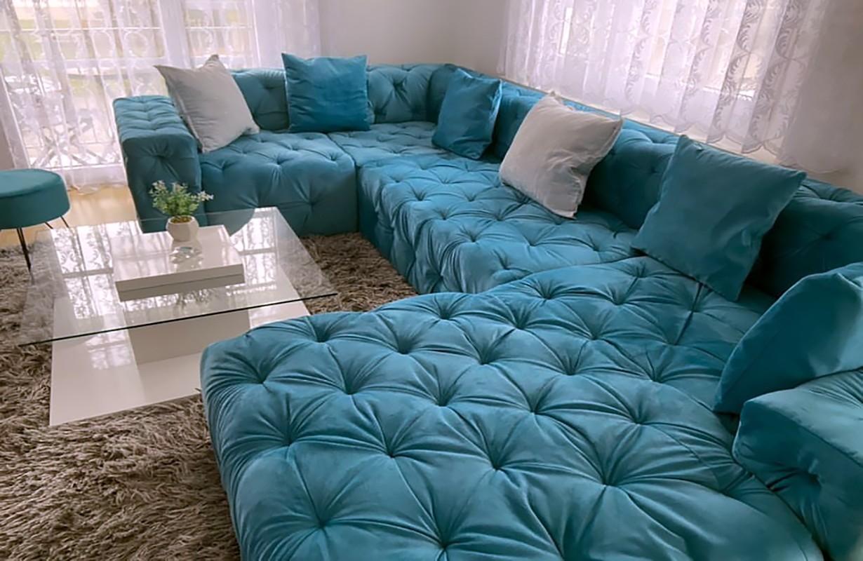Canapé panoramique en tissu premium