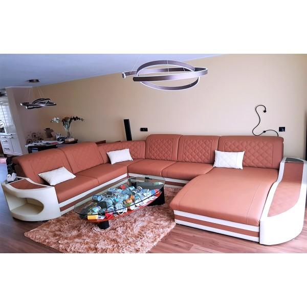 Canapé Design 3 places MYSTIQUE avec éclairage LED et port USB NATIVO™ mobilier France