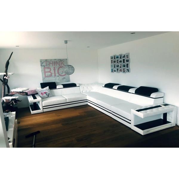 Canapé Design 2 places MYSTIQUE avec éclairage LED et port USB NATIVO™ mobilier France