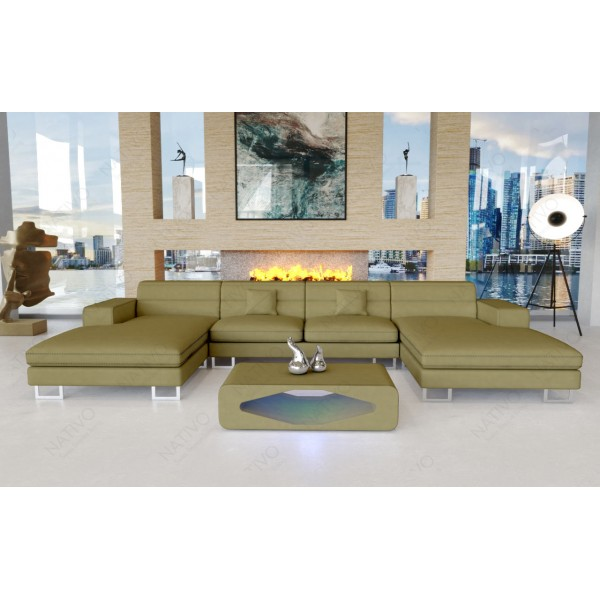 Canapé Design 3 places ROYAL avec éclairage LED et port USB NATIVO™ mobilier France