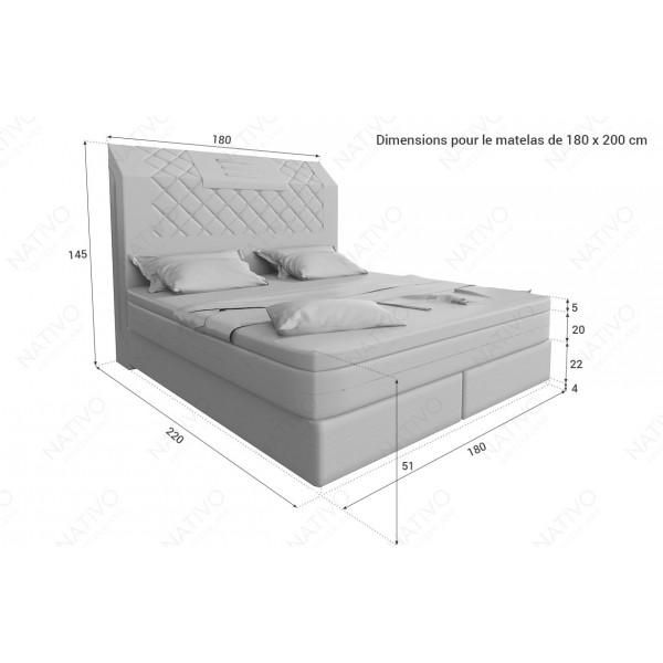 Canapé Design 2 places ROYAL avec éclairage LED et port USB NATIVO™ mobilier France
