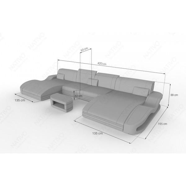 Canapé Design 2 places CLERMONT MINI avec éclairage LED NATIVO™ mobilier France