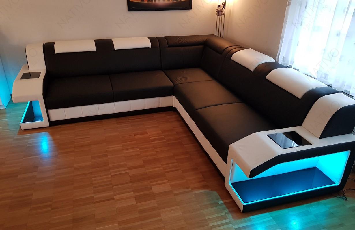 Canapé Design en cuir italien avec éclairage LED