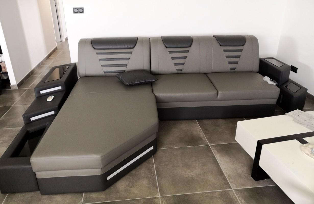 Canapé d'angle avec éclairage LED et port USB