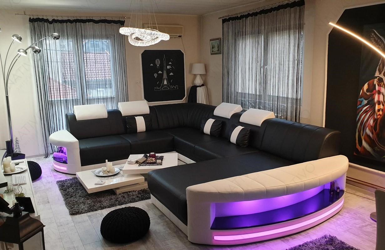Canapé Design en cuir avec éclairage LED