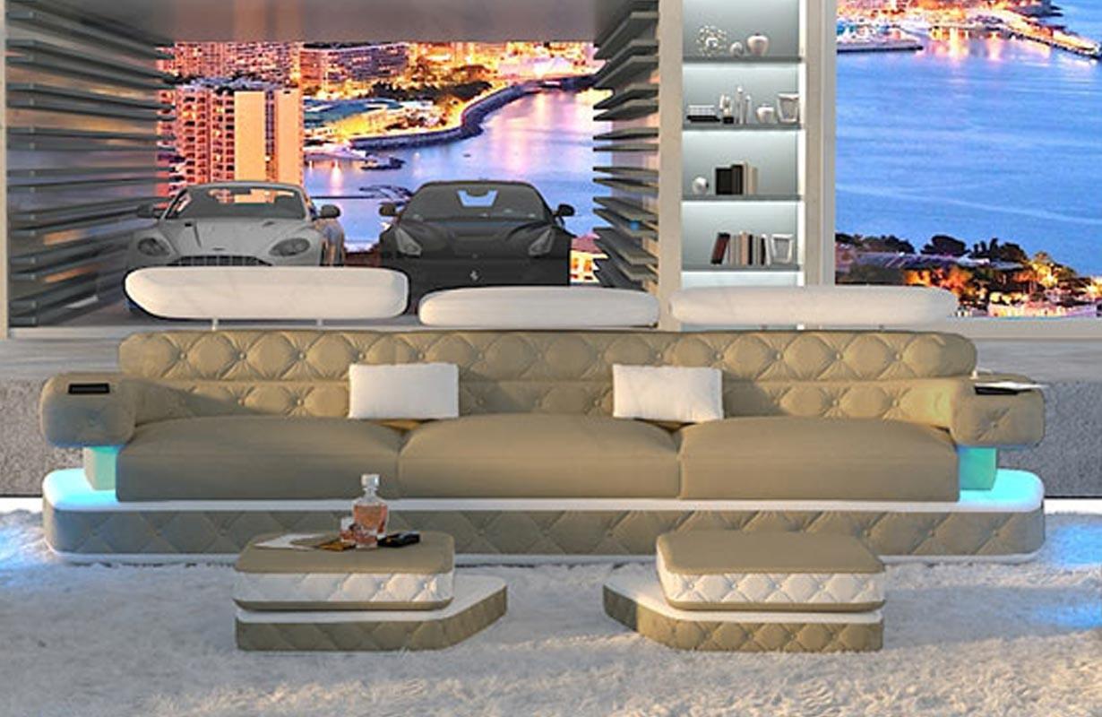 Canapé Design EXODUS 3 places avec éclairage LED et port USB