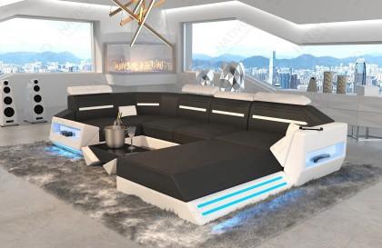 XXL Canapé Lounge en rotin CAREZZA XXL avec éclairage LED