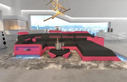 XXL Canapé Lounge en rotin RONALD avec éclairage LED