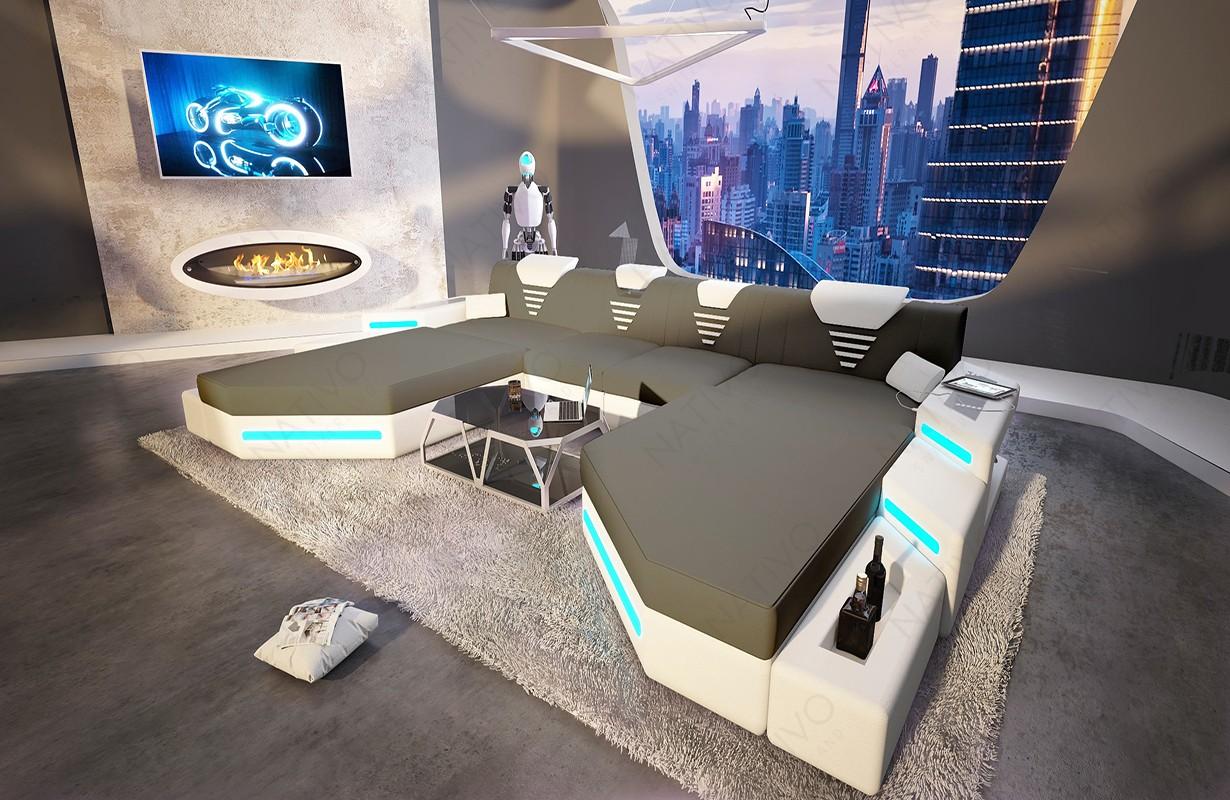 Canapé Design NEMESIS XXL DUO avec éclairage LED et port USB