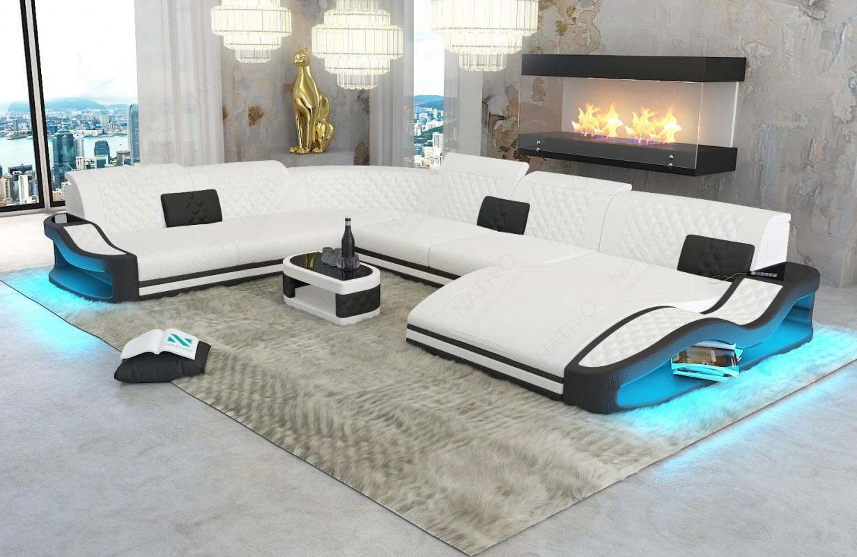 Canapé Design DIABLO XXL avec éclairage LED et port USB
