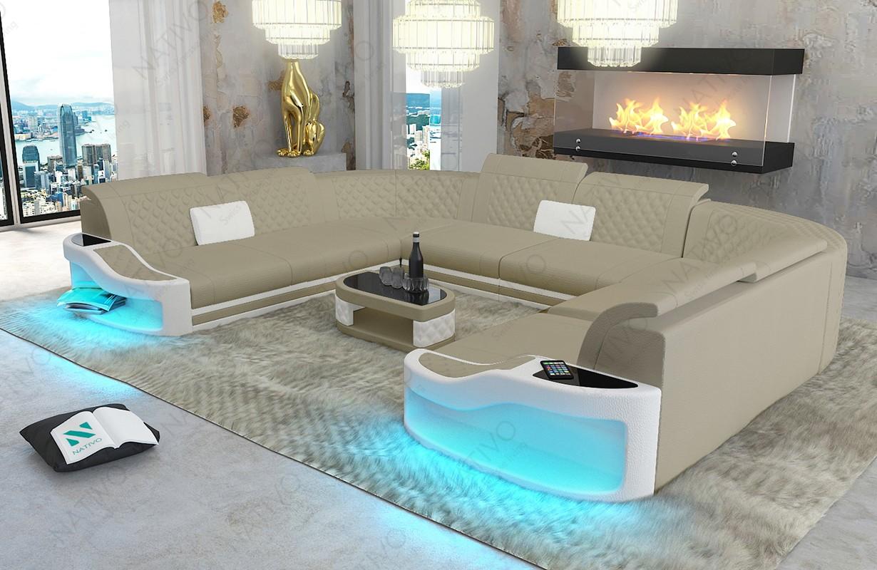Canapé Design DIABLO CORNER U FORM avec éclairage LED et port USB