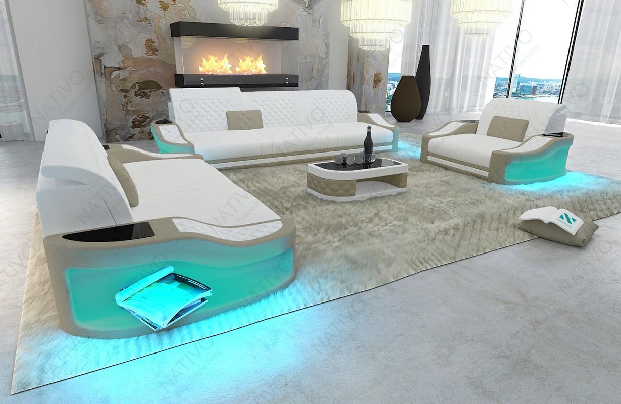 Canapé Design DIABLO 3+2+1 avec éclairage LED et port USB