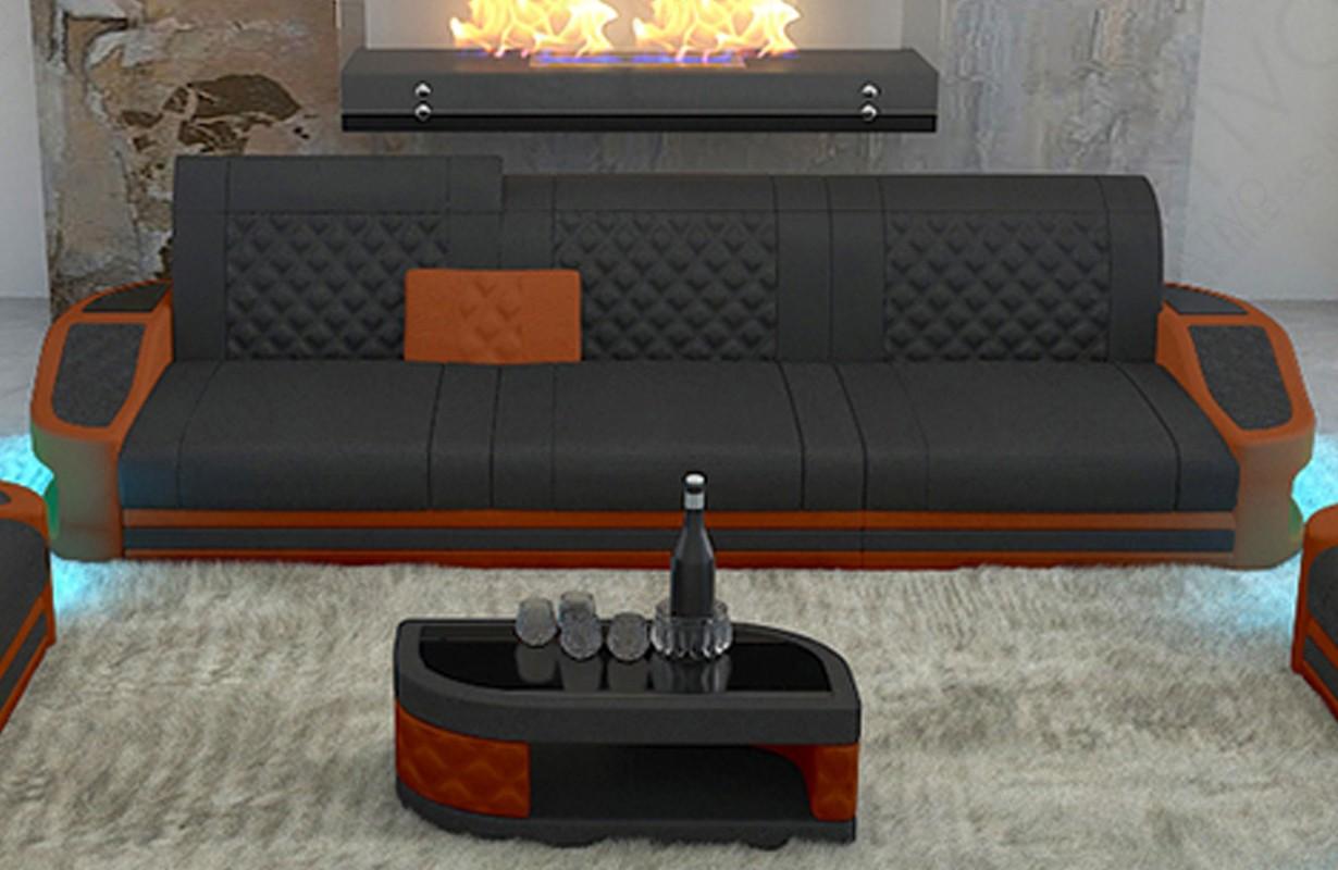 Canapé Design DIABLO 3 places avec éclairage LED et port USB