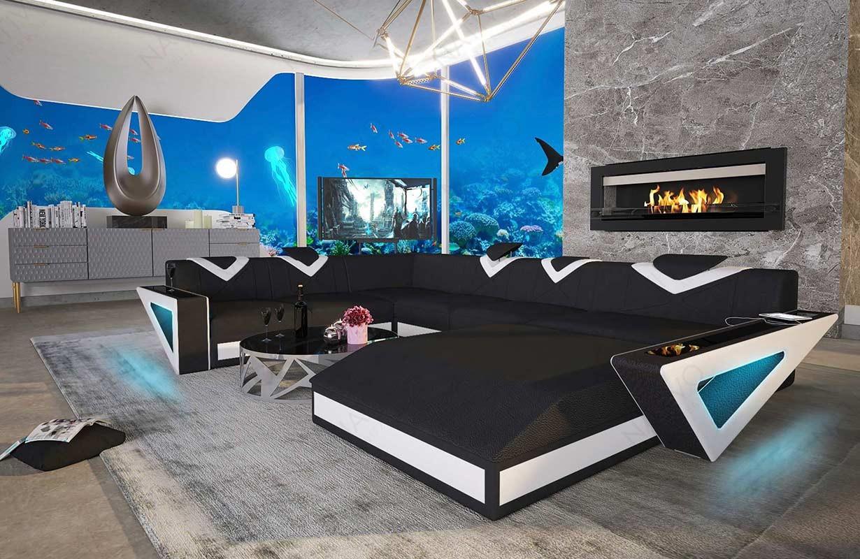 Canapé Design FALCO XXL avec éclairage LED et port USB
