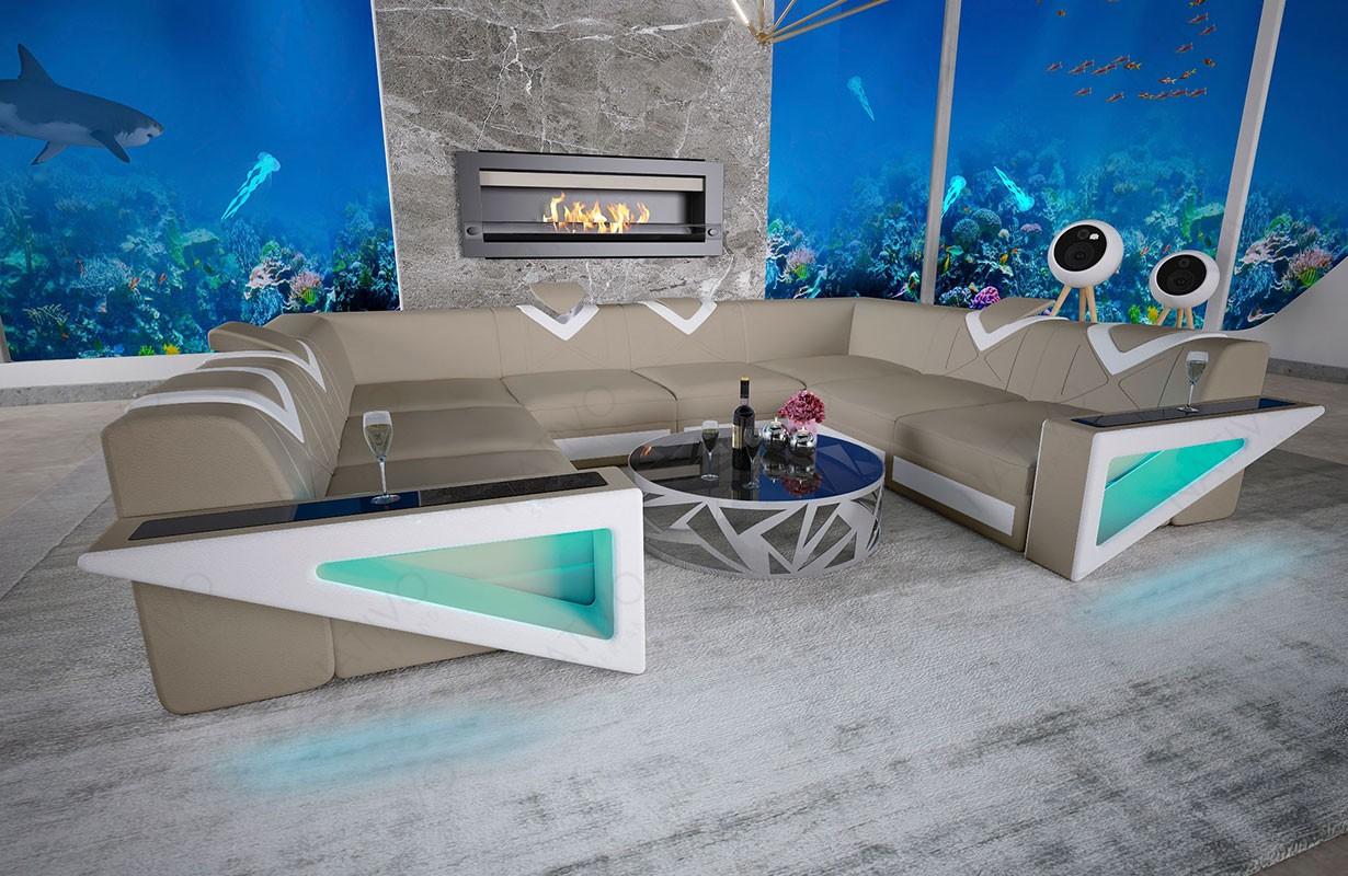 Canapé Design FALCO CORNER U FORM avec éclairage LED et port USB
