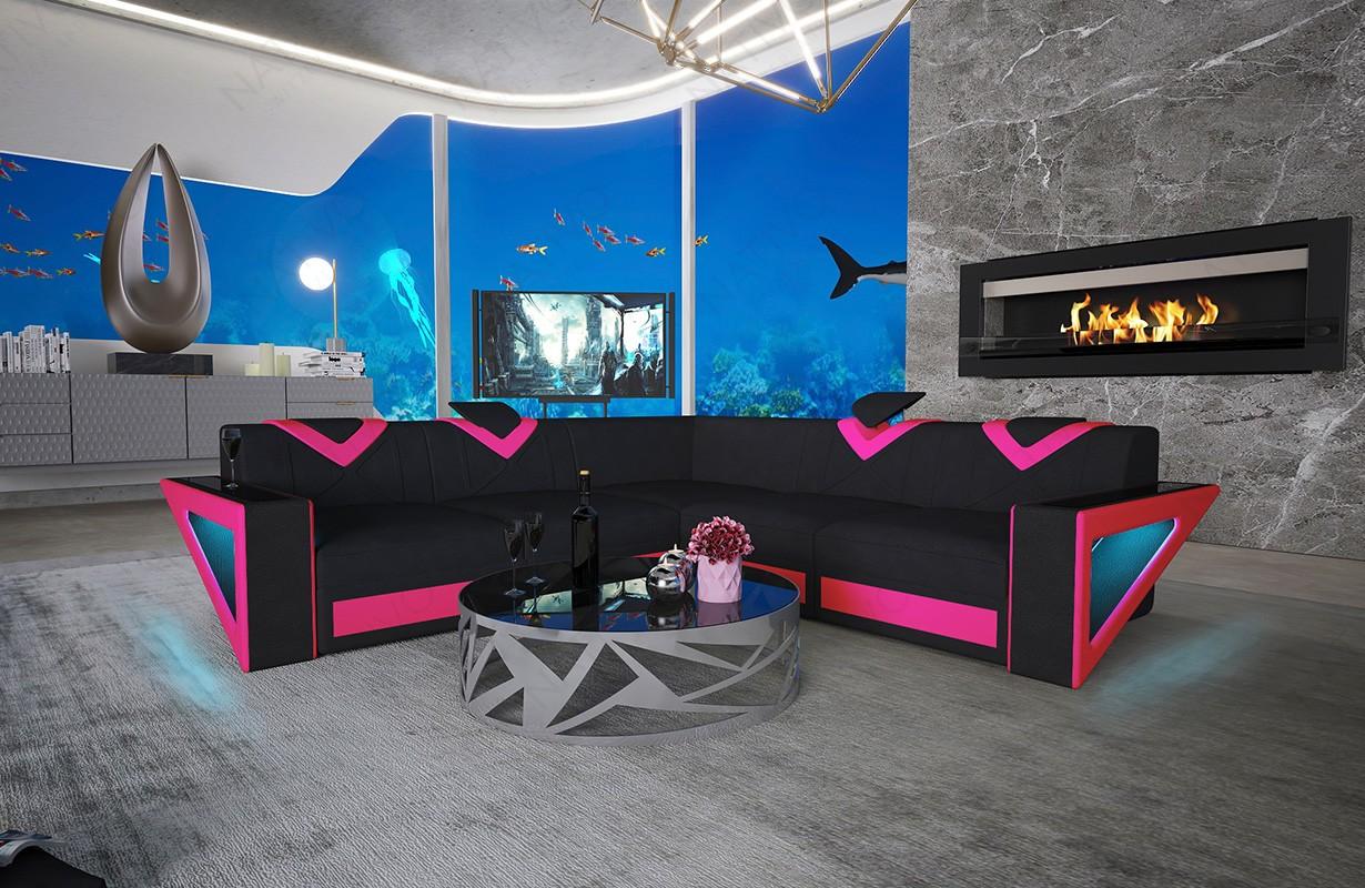 Canapé Design FALCO CORNER avec éclairage LED et port USB