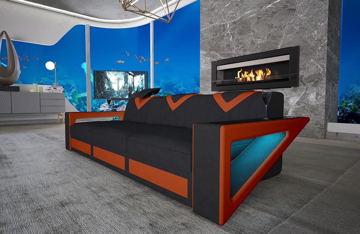 Canapé Design 3 places FALCO avec éclairage LED et port USB