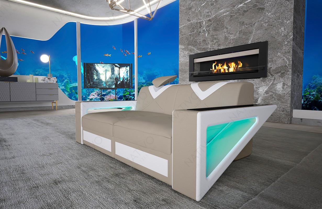 Canapé Design 2 places FALCO avec éclairage LED et port USB