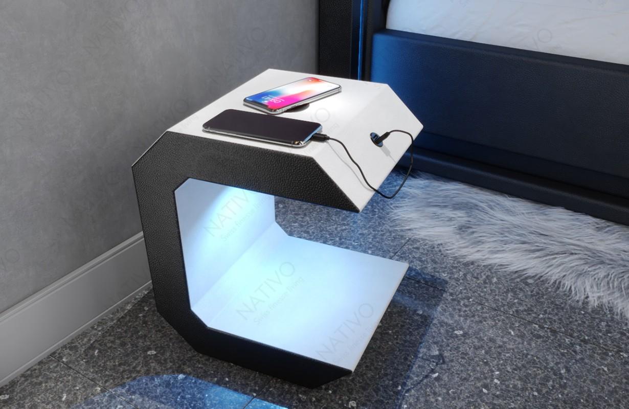 Table de chevet Design LUNA avec port USB et chargeur sans fil