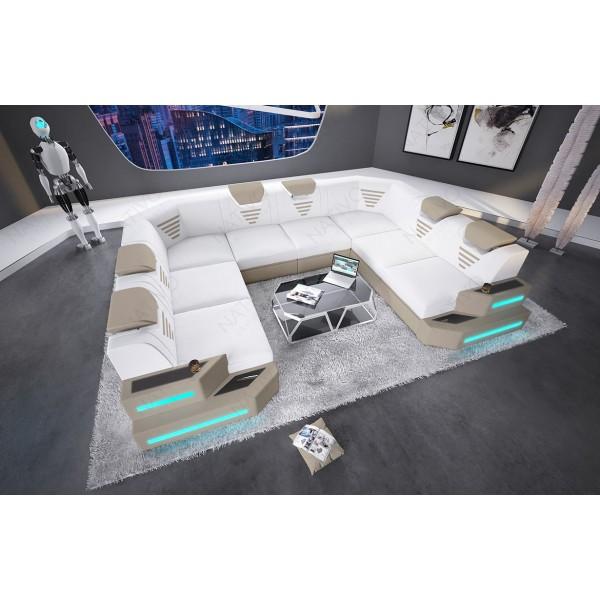 Canapé Design EDEN avec la table basse et 2 tabourets
