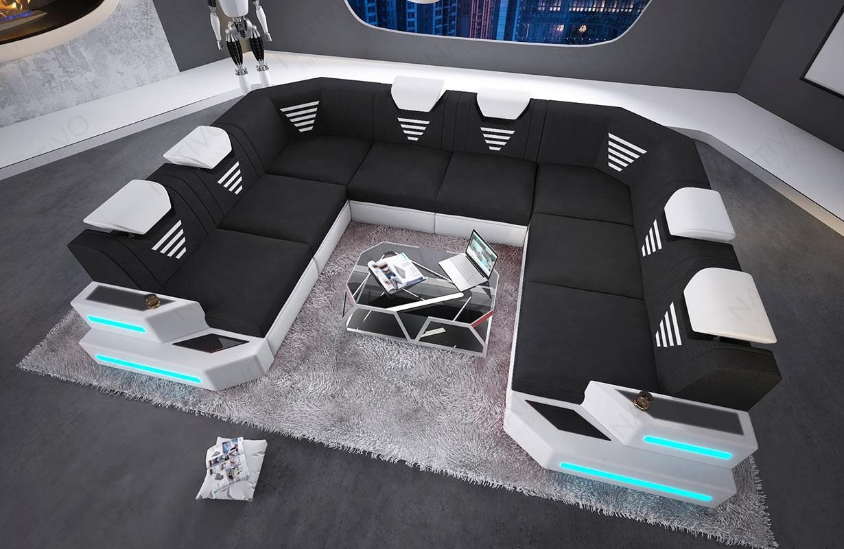 Canapé Design NEMESIS CORNER U FORM avec éclairage LED et port USB