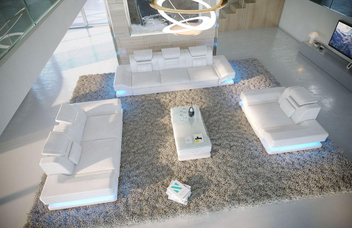 Canapé Design ROUGE 3+2+1 avec éclairage LED et port USB