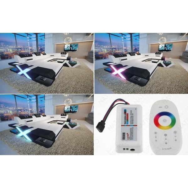Canapé Design ROYAL XXL avec éclairage LED et port USB