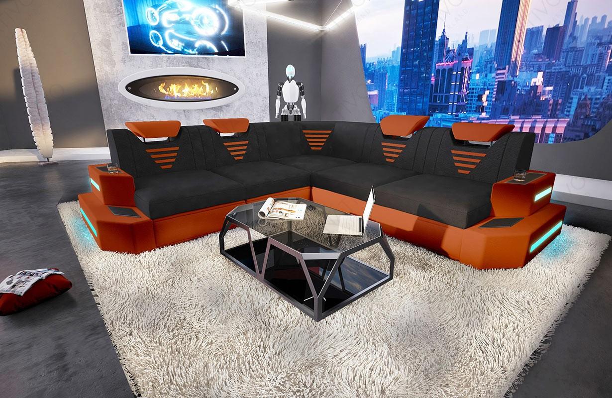 Canapé Design NEMESIS CORNER avec éclairage LED et port USB