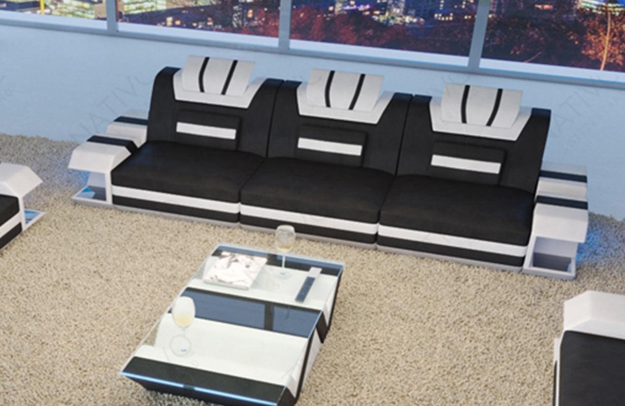 Canapé Design 3 places MYSTIQUE avec éclairage LED et port USB