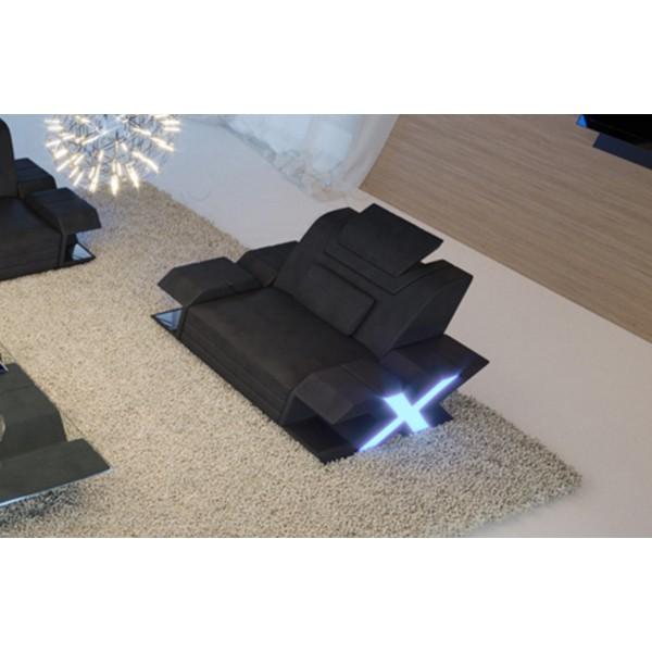 Lit boxspring WIEN en cuir avec topper et port USB
