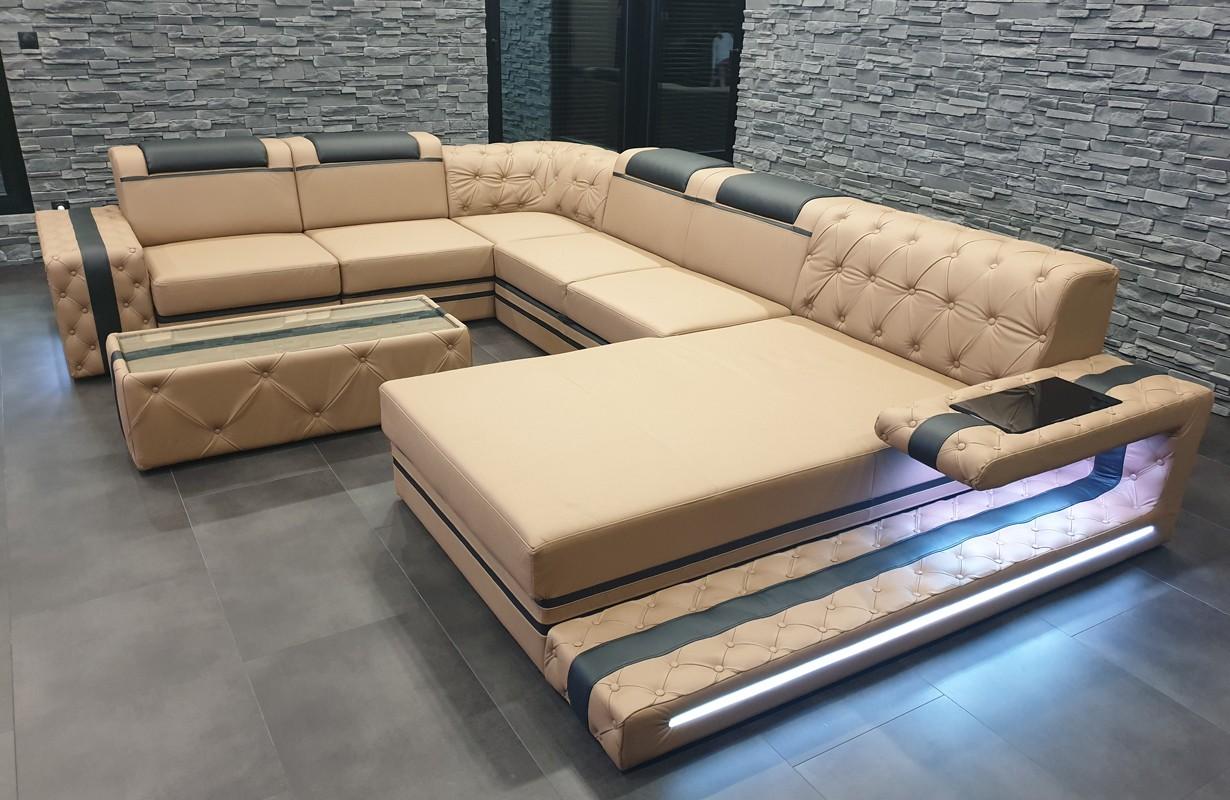 Grand canapé en cuir italien avec éclairage LED (Beige / Noir)